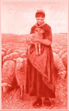 A picture depicting a woman carrying a Lamb