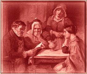 A picture depicting a man sitting a table reading the Bible to three women