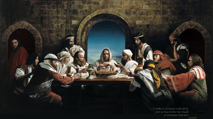 Jesus with His disciples during the Last Supper