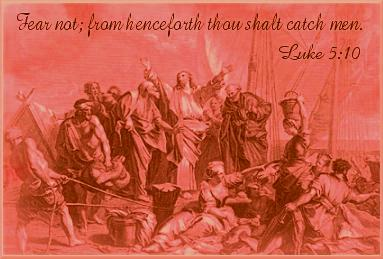A picture depicting Jesus surounded by His disciples and teaching the people with a quote of Luke 5:10