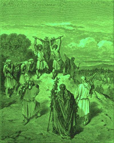 Depiction of Israelite spies carrying the cluster of grapes