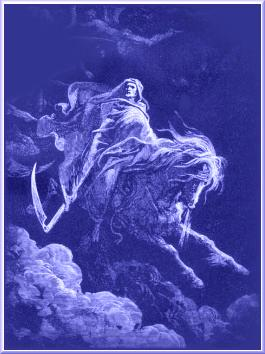 A picture depicting the grim reaper - death - satan on a white horse - DON'T be taken by the first rider